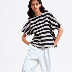 Zara Striped Linen Top